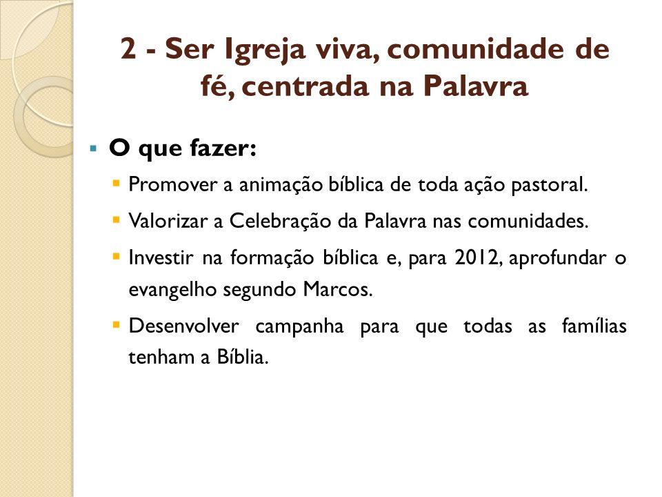 2 - Ser Igreja viva, comunidade de fé, centrada na Palavra O que fazer: Promover a animação bíblica de toda ação pastoral. Valorizar a Celebração da P