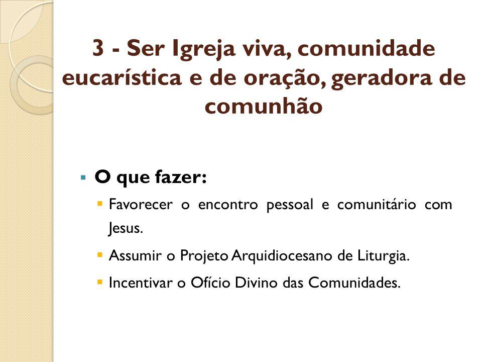 3 - Ser Igreja viva, comunidade eucarística e de oração, geradora de comunhão O que fazer: Favorecer o encontro pessoal e comunitário com Jesus. Assum