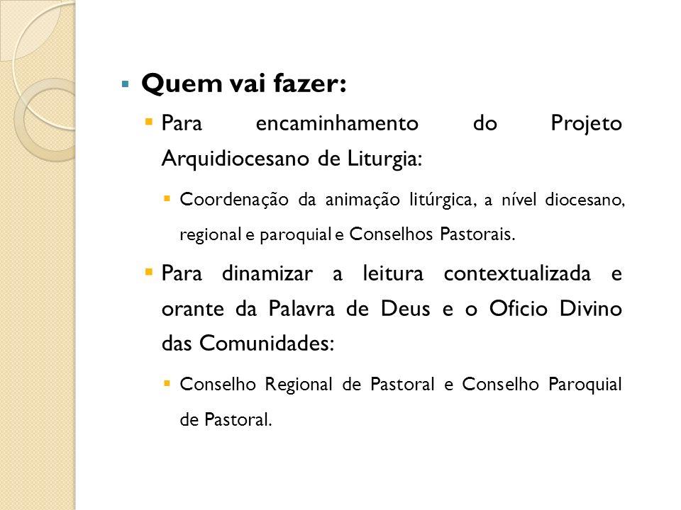 Quem vai fazer: Para encaminhamento do Projeto Arquidiocesano de Liturgia: Coordenação da animação litúrgica, a nível diocesano, regional e paroquial