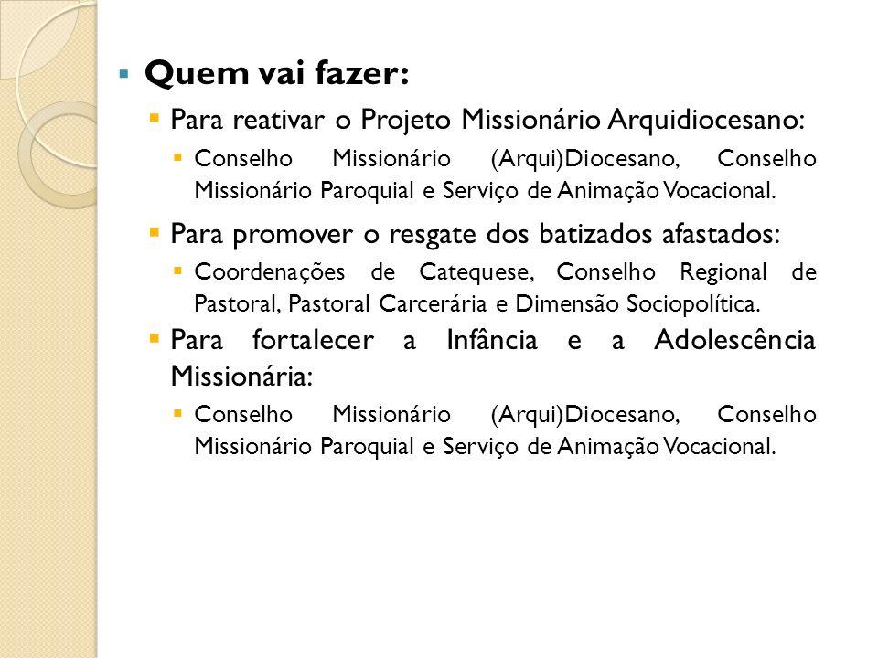 Quem vai fazer: Para reativar o Projeto Missionário Arquidiocesano: Conselho Missionário (Arqui)Diocesano, Conselho Missionário Paroquial e Serviço de