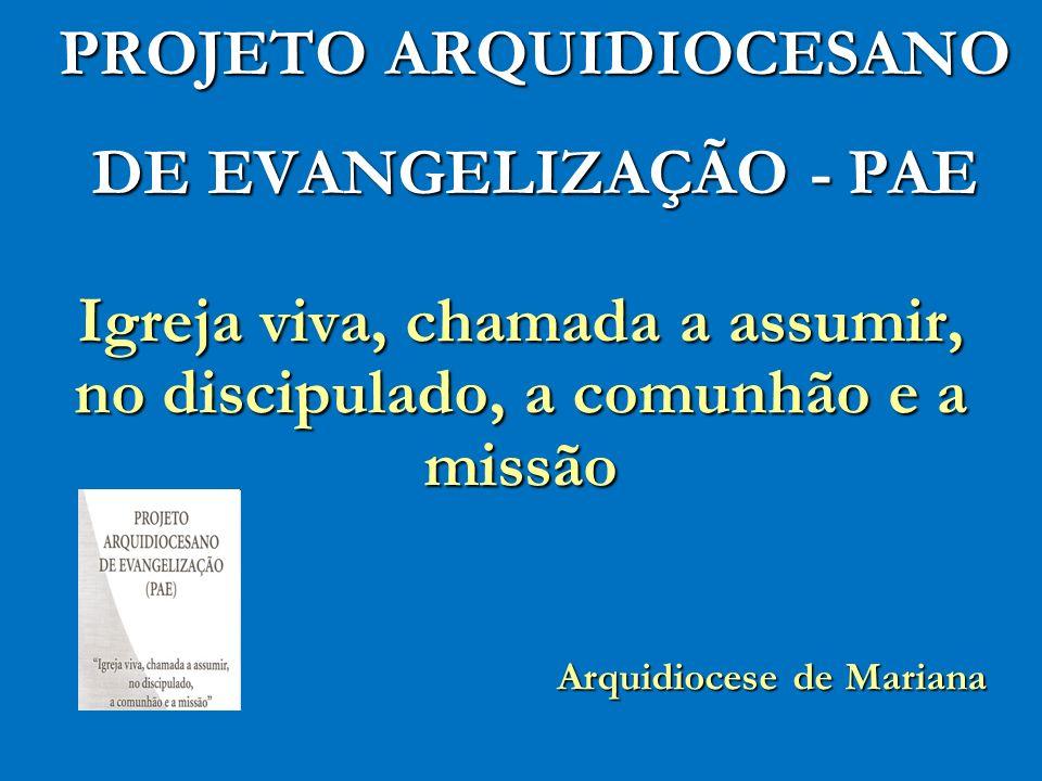 PROJETO ARQUIDIOCESANO DE EVANGELIZAÇÃO - PAE Igreja viva, chamada a assumir, no discipulado, a comunhão e a missão Arquidiocese de Mariana