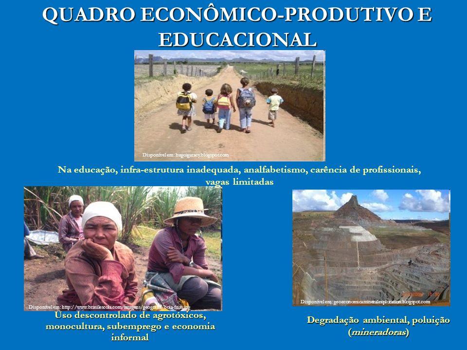 QUADRO ECONÔMICO-PRODUTIVO E EDUCACIONAL Disponível em: http://www.brasilescola.com/imagens/geografia/boia-frias.jpg Uso descontrolado de agrotóxicos,