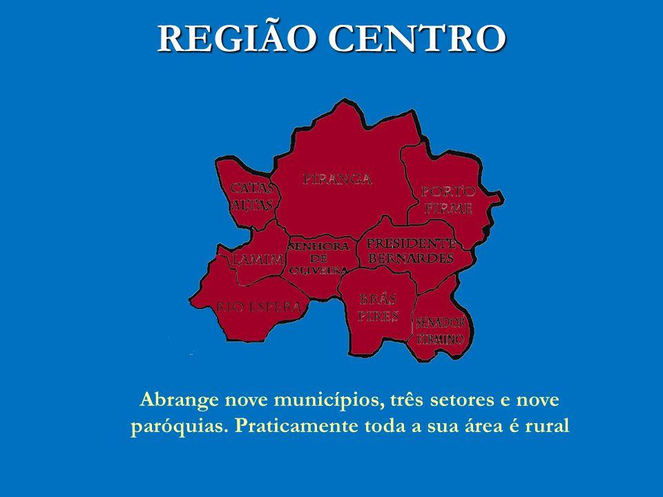 REGIÃO CENTRO Abrange nove municípios, três setores e nove paróquias. Praticamente toda a sua área é rural