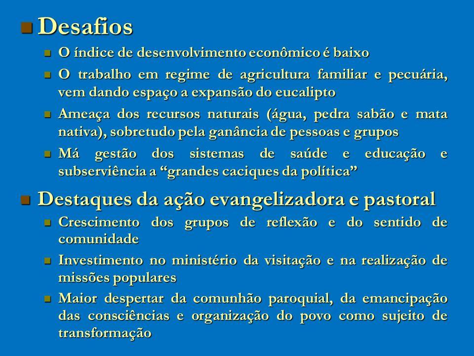 Desafios Desafios O índice de desenvolvimento econômico é baixo O índice de desenvolvimento econômico é baixo O trabalho em regime de agricultura fami