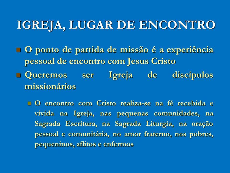 IGREJA, LUGAR DE ENCONTRO O ponto de partida de missão é a experiência pessoal de encontro com Jesus Cristo O ponto de partida de missão é a experiênc