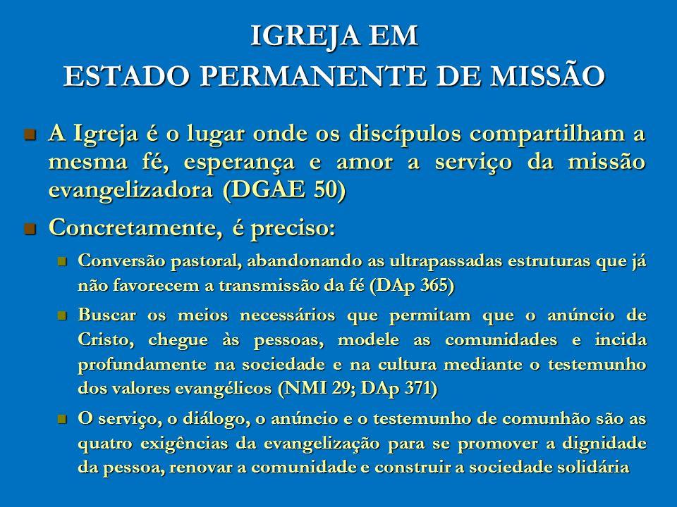 IGREJA EM ESTADO PERMANENTE DE MISSÃO A Igreja é o lugar onde os discípulos compartilham a mesma fé, esperança e amor a serviço da missão evangelizado