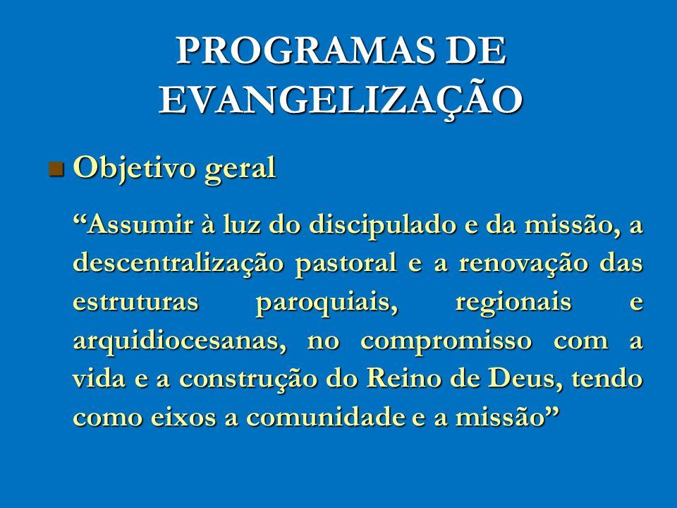 PROGRAMAS DE EVANGELIZAÇÃO Objetivo geral Objetivo geral Assumir à luz do discipulado e da missão, a descentralização pastoral e a renovação das estru