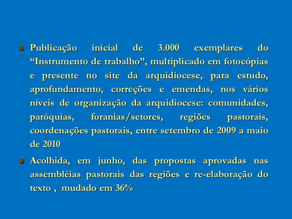 Publicação inicial de 3.000 exemplares do Instrumento de trabalho, multiplicado em fotocópias e presente no site da arquidiocese, para estudo, aprofun
