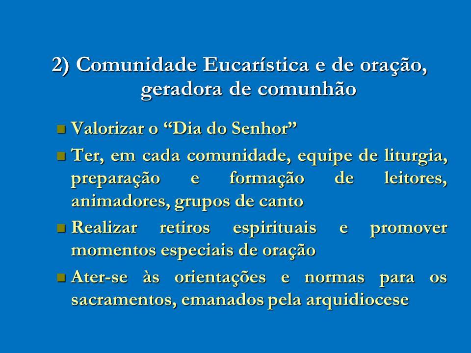 2) Comunidade Eucarística e de oração, geradora de comunhão Valorizar o Dia do Senhor Valorizar o Dia do Senhor Ter, em cada comunidade, equipe de lit
