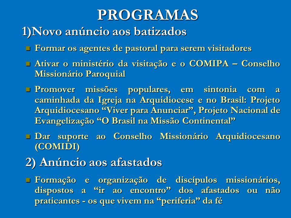 PROGRAMAS 1)Novo anúncio aos batizados Formar os agentes de pastoral para serem visitadores Formar os agentes de pastoral para serem visitadores Ativa