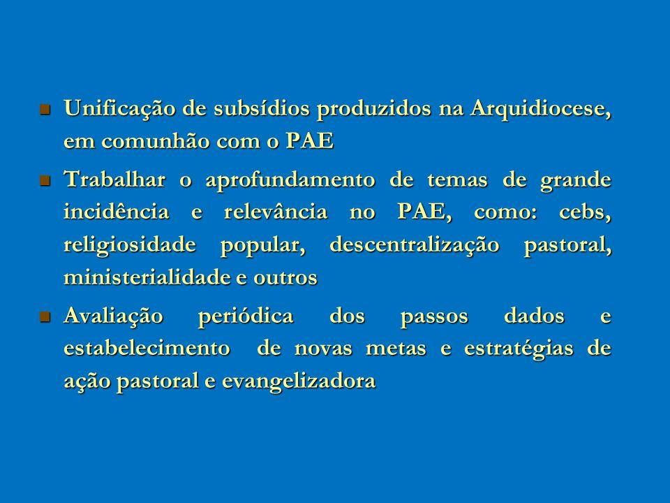 Unificação de subsídios produzidos na Arquidiocese, em comunhão com o PAE Unificação de subsídios produzidos na Arquidiocese, em comunhão com o PAE Tr