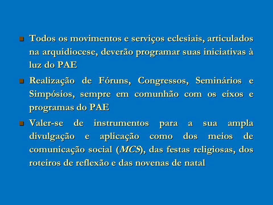 Todos os movimentos e serviços eclesiais, articulados na arquidiocese, deverão programar suas iniciativas à luz do PAE Todos os movimentos e serviços