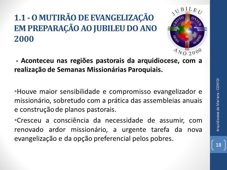 1.1 - O MUTIRÃO DE EVANGELIZAÇÃO EM PREPARAÇÃO AO JUBILEU DO ANO 2000 - Aconteceu nas regiões pastorais da arquidiocese, com a realização de Semanas M