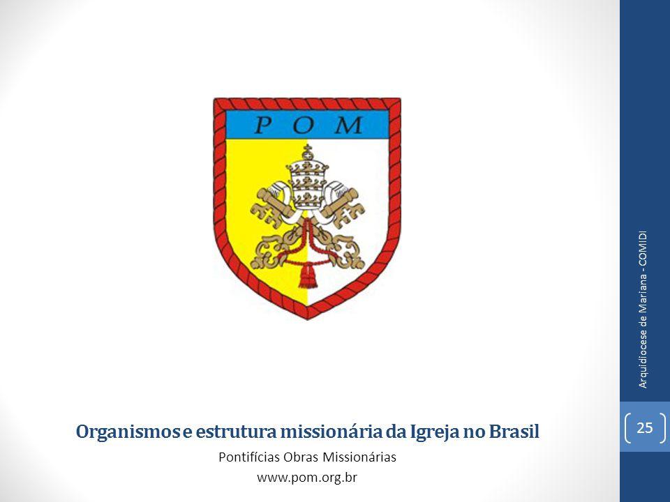 Organismos e estrutura missionária da Igreja no Brasil Pontifícias Obras Missionárias www.pom.org.br 25 Arquidiocese de Mariana - COMIDI