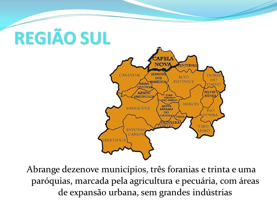 REGIÃO SUL Abrange dezenove municípios, três foranias e trinta e uma paróquias, marcada pela agricultura e pecuária, com áreas de expansão urbana, sem