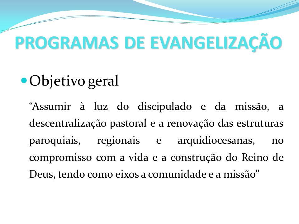 PROGRAMAS DE EVANGELIZAÇÃO Objetivo geral Assumir à luz do discipulado e da missão, a descentralização pastoral e a renovação das estruturas paroquiai