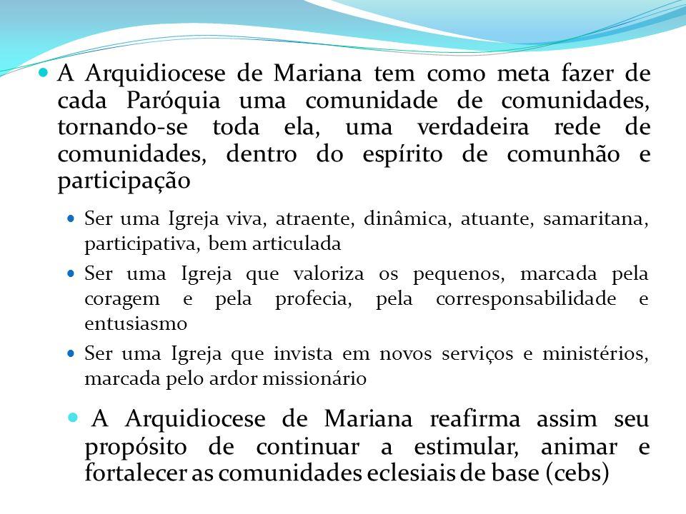 A Arquidiocese de Mariana tem como meta fazer de cada Paróquia uma comunidade de comunidades, tornando-se toda ela, uma verdadeira rede de comunidades