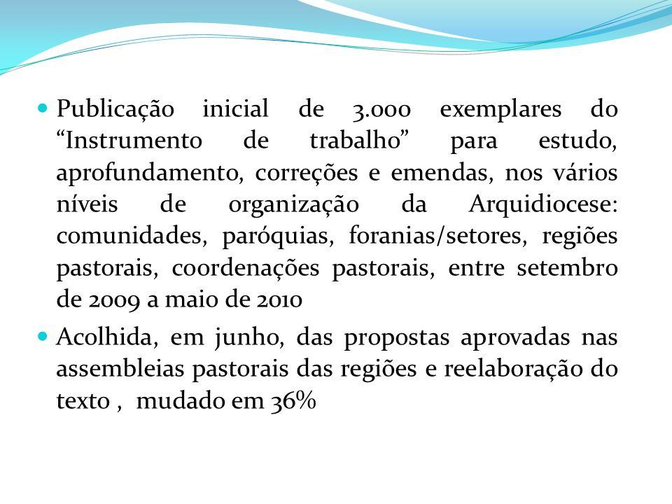Publicação inicial de 3.000 exemplares do Instrumento de trabalho para estudo, aprofundamento, correções e emendas, nos vários níveis de organização d