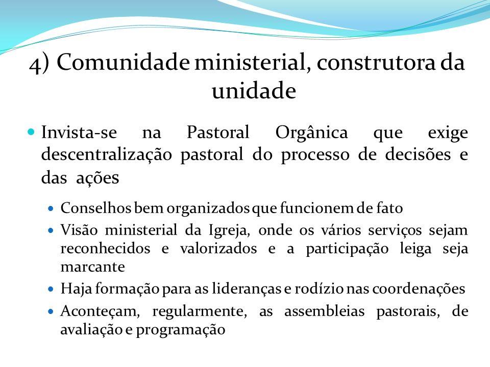 4) Comunidade ministerial, construtora da unidade Invista-se na Pastoral Orgânica que exige descentralização pastoral do processo de decisões e das aç