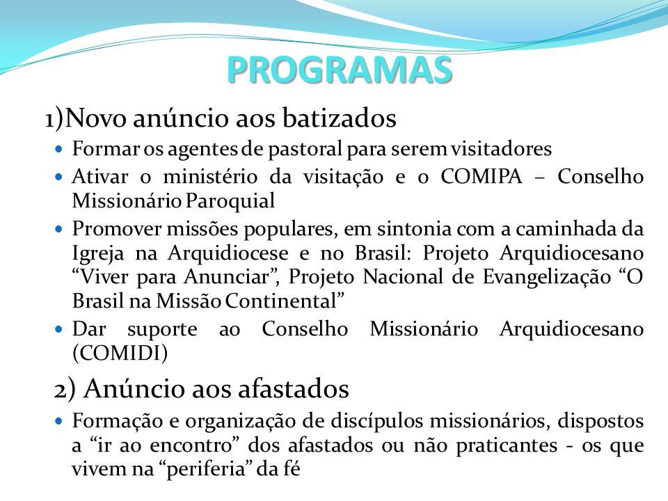 PROGRAMAS 1)Novo anúncio aos batizados Formar os agentes de pastoral para serem visitadores Ativar o ministério da visitação e o COMIPA – Conselho Mis