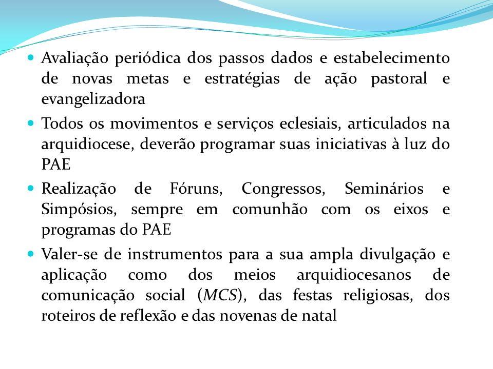 Avaliação periódica dos passos dados e estabelecimento de novas metas e estratégias de ação pastoral e evangelizadora Todos os movimentos e serviços e