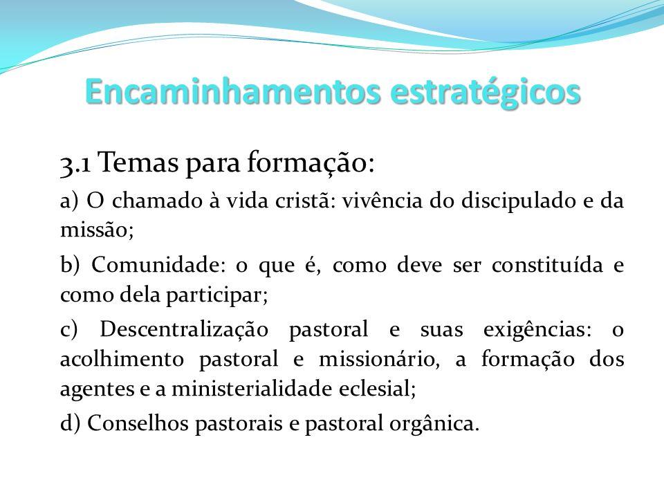 Encaminhamentos estratégicos 3.1 Temas para formação: a) O chamado à vida cristã: vivência do discipulado e da missão; b) Comunidade: o que é, como de
