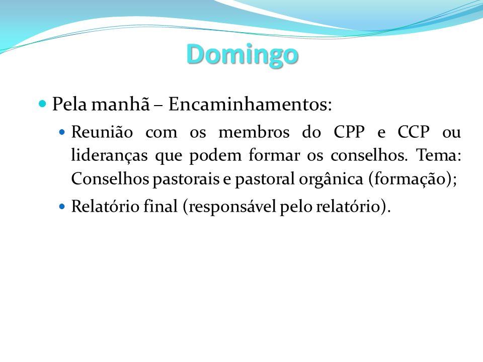 Domingo Pela manhã – Encaminhamentos: Reunião com os membros do CPP e CCP ou lideranças que podem formar os conselhos. Tema: Conselhos pastorais e pas