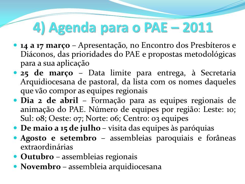 4) Agenda para o PAE – 2011 14 a 17 março – Apresentação, no Encontro dos Presbíteros e Diáconos, das prioridades do PAE e propostas metodológicas par