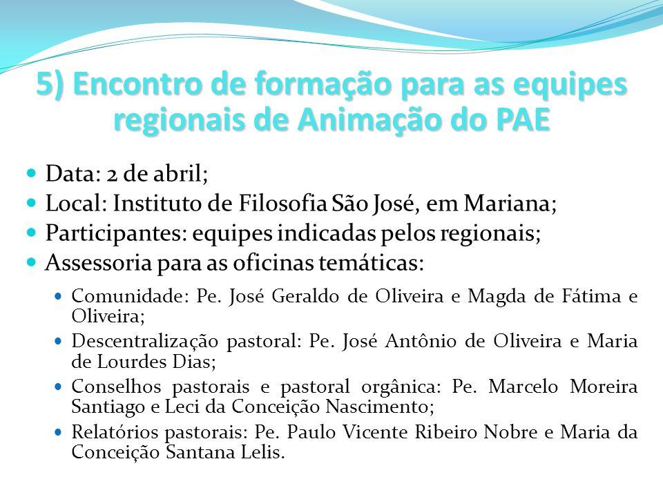 5) Encontro de formação para as equipes regionais de Animação do PAE Data: 2 de abril; Local: Instituto de Filosofia São José, em Mariana; Participant