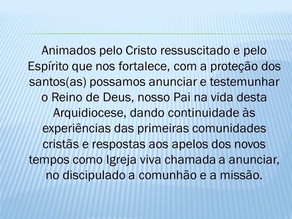 Animados pelo Cristo ressuscitado e pelo Espírito que nos fortalece, com a proteção dos santos(as) possamos anunciar e testemunhar o Reino de Deus, no