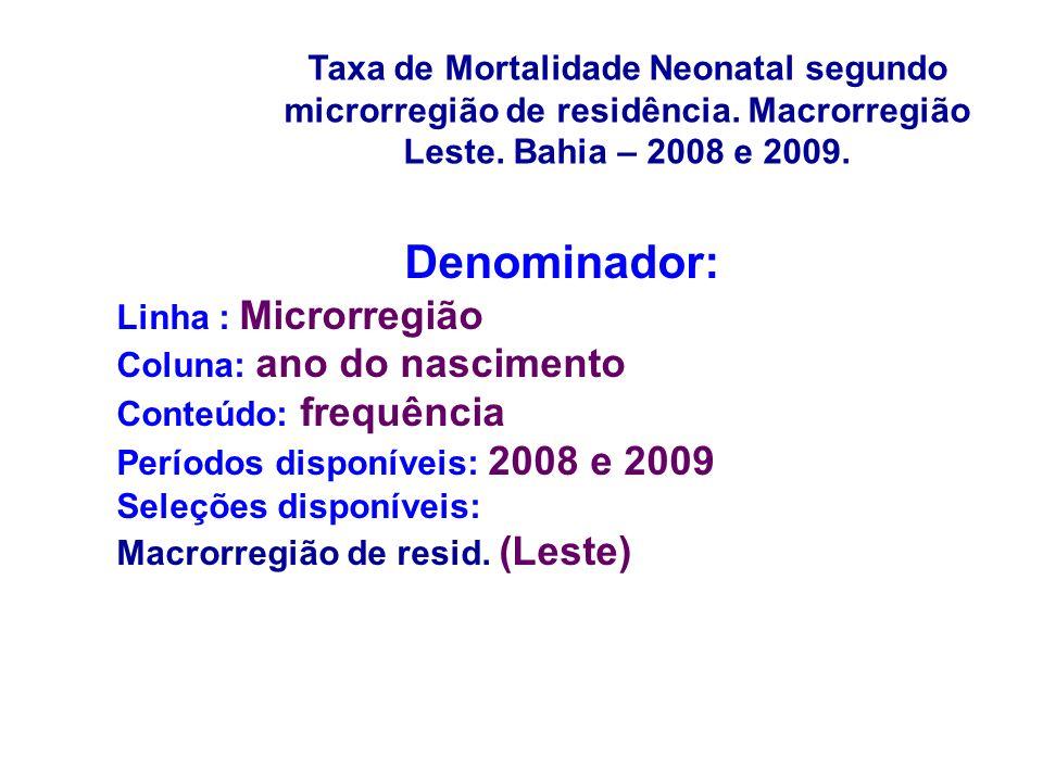 Denominador: Linha : Microrregião Coluna: ano do nascimento Conteúdo: frequência Períodos disponíveis: 2008 e 2009 Seleções disponíveis: Macrorregião