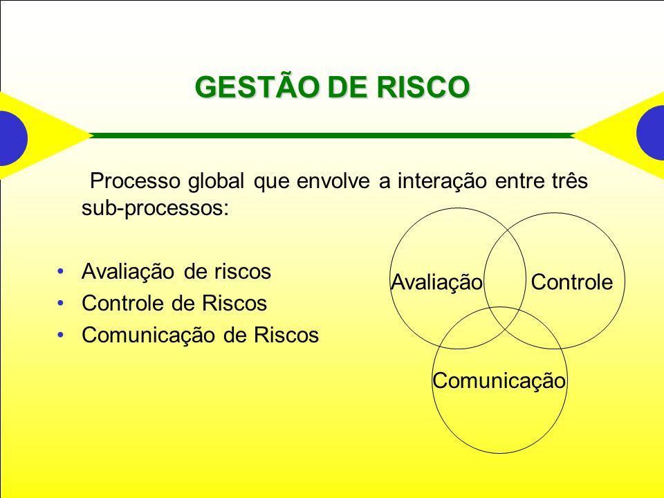 GESTÃO DE RISCO Processo global que envolve a interação entre três sub-processos: Avaliação de riscos Controle de Riscos Comunicação de Riscos AvaliaçãoControle Comunicação