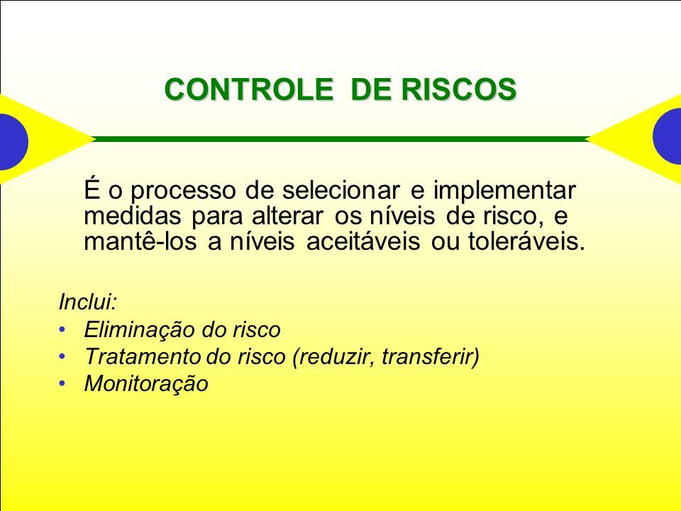 CONTROLE DE RISCOS É o processo de selecionar e implementar medidas para alterar os níveis de risco, e mantê-los a níveis aceitáveis ou toleráveis. In