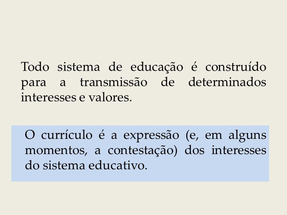 O currículo é um conjunto de mecanismos que a escola se utiliza para distribuir socialmente o conhecimento produzido em um contexto social (Nova Sociologia da Educação).