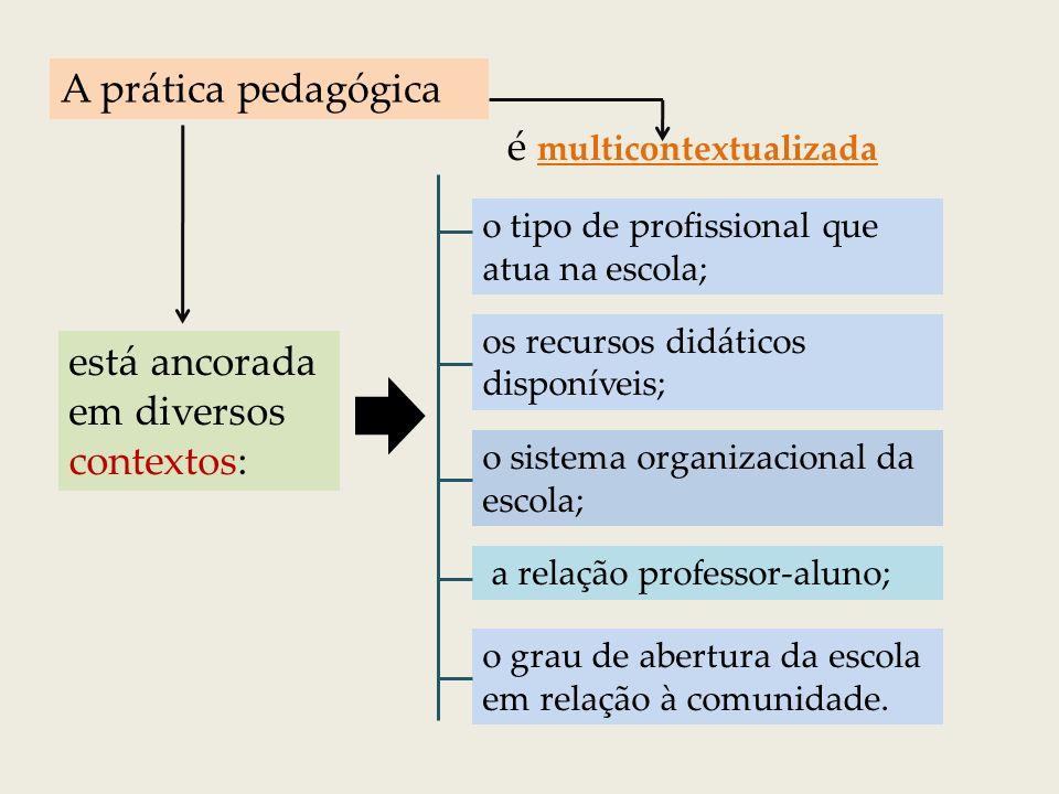A maioria das práticas pedagógicas tem a característica de estar multicontextualizada.