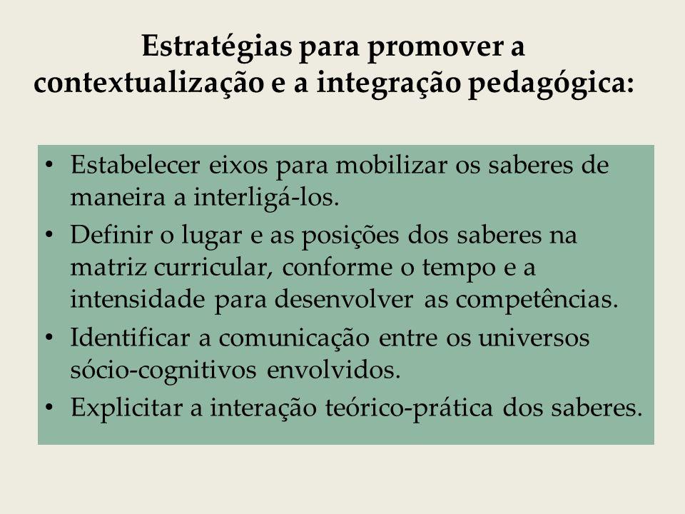 Estratégias para promover a contextualização e a integração pedagógica: Estabelecer eixos para mobilizar os saberes de maneira a interligá-los. Defini