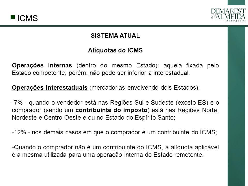 SISTEMA ATUAL Alíquotas do ICMS Operações internas (dentro do mesmo Estado): aquela fixada pelo Estado competente, porém, não pode ser inferior a interestadual.