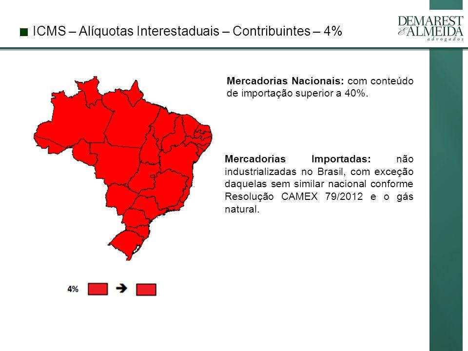 ICMS – Alíquotas Interestaduais – Contribuintes – 4% Mercadorias Nacionais: com conteúdo de importação superior a 40%.