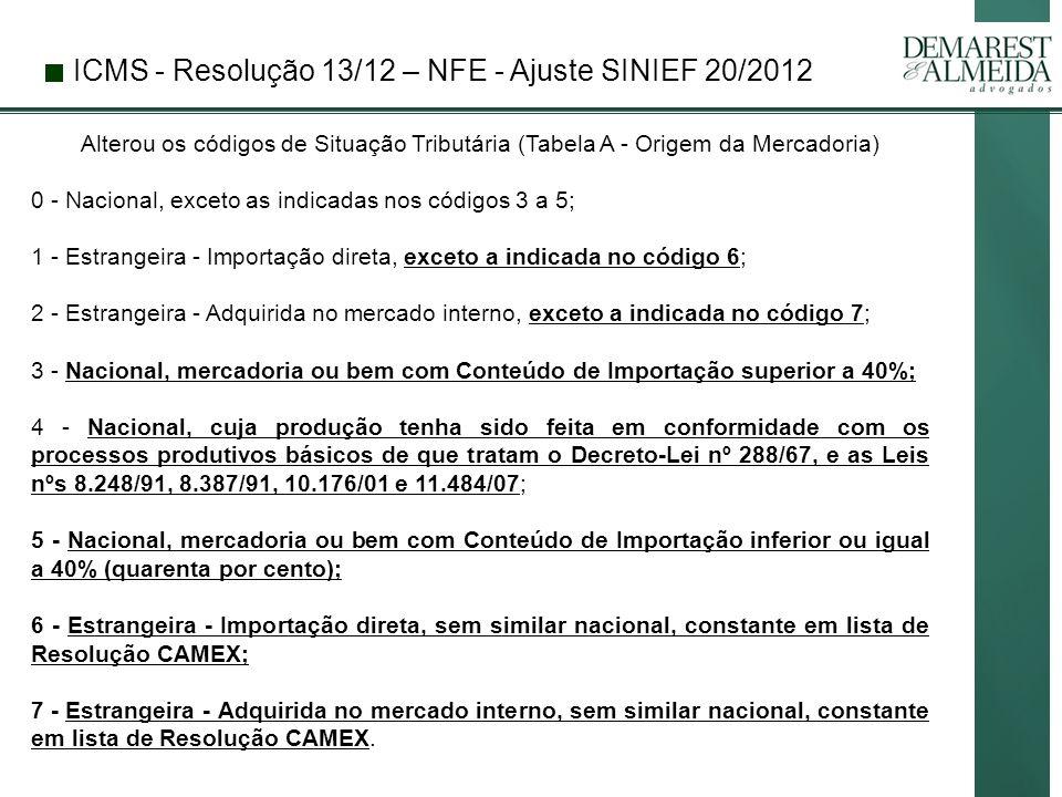 ICMS - Resolução 13/12 – NFE - Ajuste SINIEF 20/2012 Alterou os códigos de Situação Tributária (Tabela A - Origem da Mercadoria) 0 - Nacional, exceto as indicadas nos códigos 3 a 5; 1 - Estrangeira - Importação direta, exceto a indicada no código 6; 2 - Estrangeira - Adquirida no mercado interno, exceto a indicada no código 7; 3 - Nacional, mercadoria ou bem com Conteúdo de Importação superior a 40%; 4 - Nacional, cuja produção tenha sido feita em conformidade com os processos produtivos básicos de que tratam o Decreto-Lei nº 288/67, e as Leis nºs 8.248/91, 8.387/91, 10.176/01 e 11.484/07; 5 - Nacional, mercadoria ou bem com Conteúdo de Importação inferior ou igual a 40% (quarenta por cento); 6 - Estrangeira - Importação direta, sem similar nacional, constante em lista de Resolução CAMEX; 7 - Estrangeira - Adquirida no mercado interno, sem similar nacional, constante em lista de Resolução CAMEX.