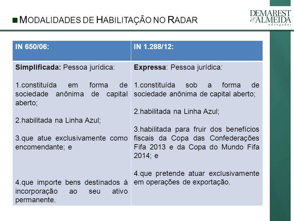 M ODALIDADES DE H ABILITAÇÃO NO R ADAR IN 650/06:IN 1.288/12: Simplificada: No caso de pessoa jurídica que atue no comércio exterior em valor de pequena monta, ou seja, até US$ 150.000,00, por período de 6 meses.