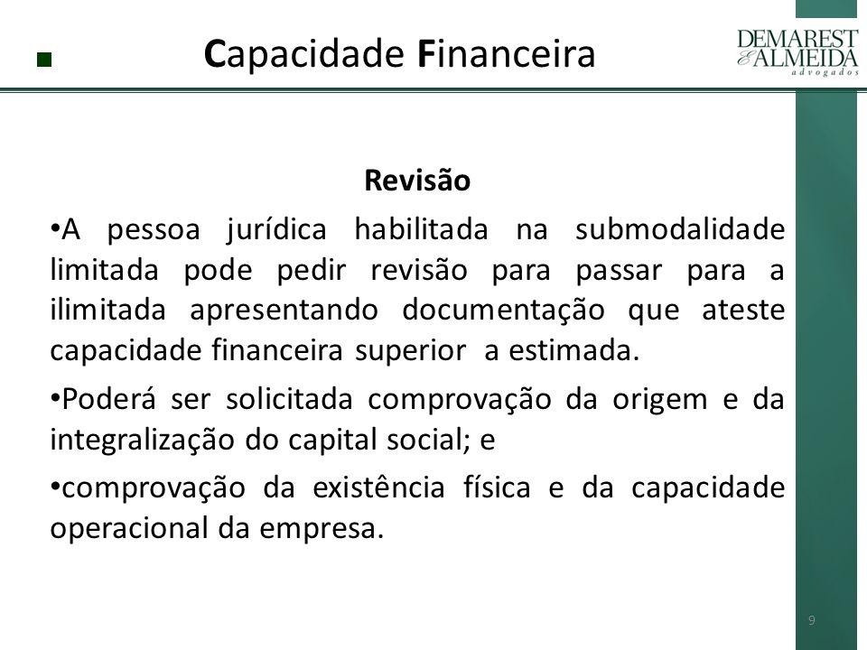Capacidade Financeira Revisão A pessoa jurídica habilitada na submodalidade limitada pode pedir revisão para passar para a ilimitada apresentando documentação que ateste capacidade financeira superior a estimada.