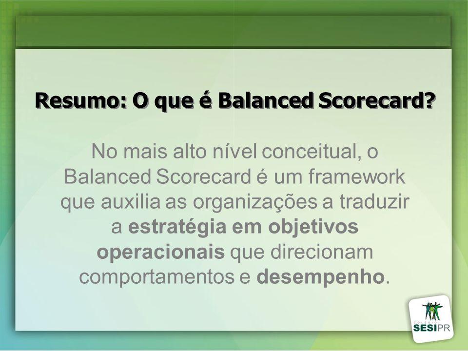 No mais alto nível conceitual, o Balanced Scorecard é um framework que auxilia as organizações a traduzir a estratégia em objetivos operacionais que d