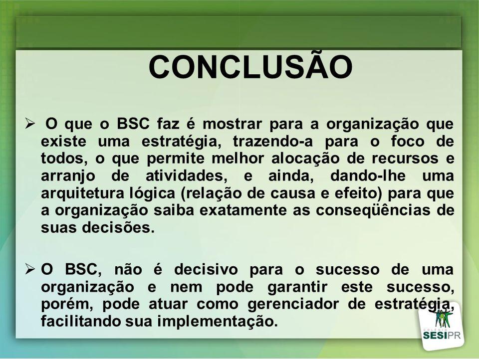 CONCLUSÃO O que o BSC faz é mostrar para a organização que existe uma estratégia, trazendo-a para o foco de todos, o que permite melhor alocação de re