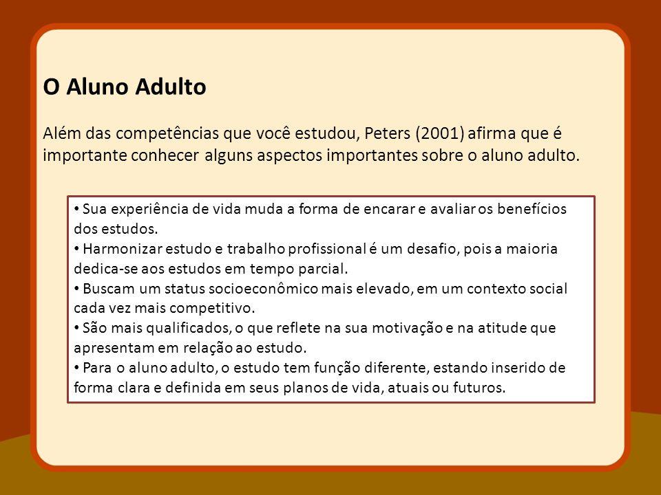 Além das competências que você estudou, Peters (2001) afirma que é importante conhecer alguns aspectos importantes sobre o aluno adulto.