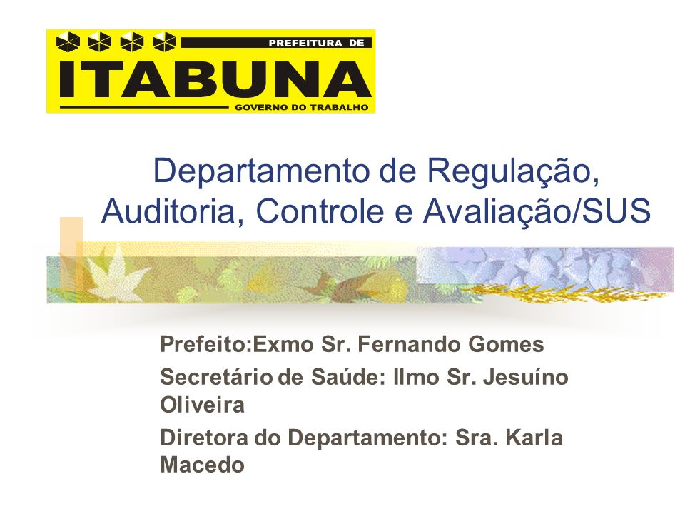 Departamento de Regulação, Auditoria, Controle e Avaliação/SUS Prefeito:Exmo Sr. Fernando Gomes Secretário de Saúde: Ilmo Sr. Jesuíno Oliveira Diretor
