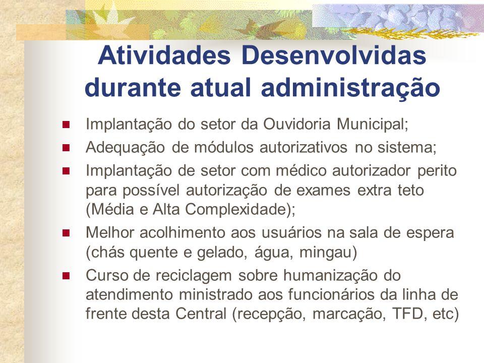 Atividades Desenvolvidas durante atual administração Implantação do setor da Ouvidoria Municipal; Adequação de módulos autorizativos no sistema; Impla
