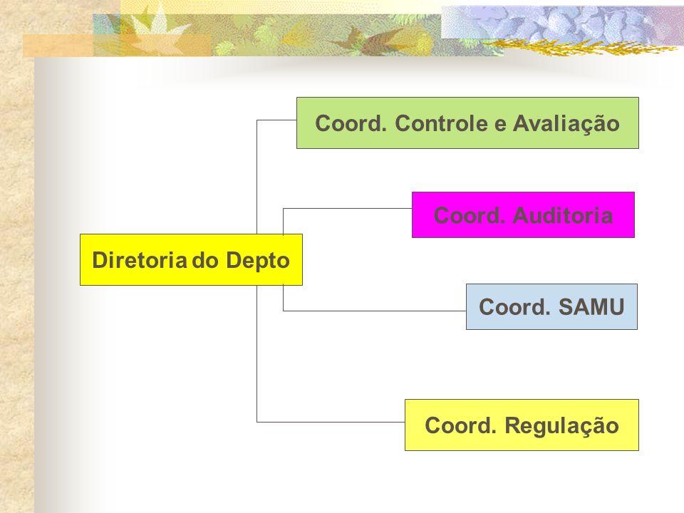 Coord. Controle e Avaliação Coord. Regulação Diretoria do Depto Coord. Auditoria Coord. SAMU