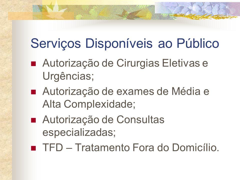 Serviços Disponíveis ao Público Autorização de Cirurgias Eletivas e Urgências; Autorização de exames de Média e Alta Complexidade; Autorização de Cons
