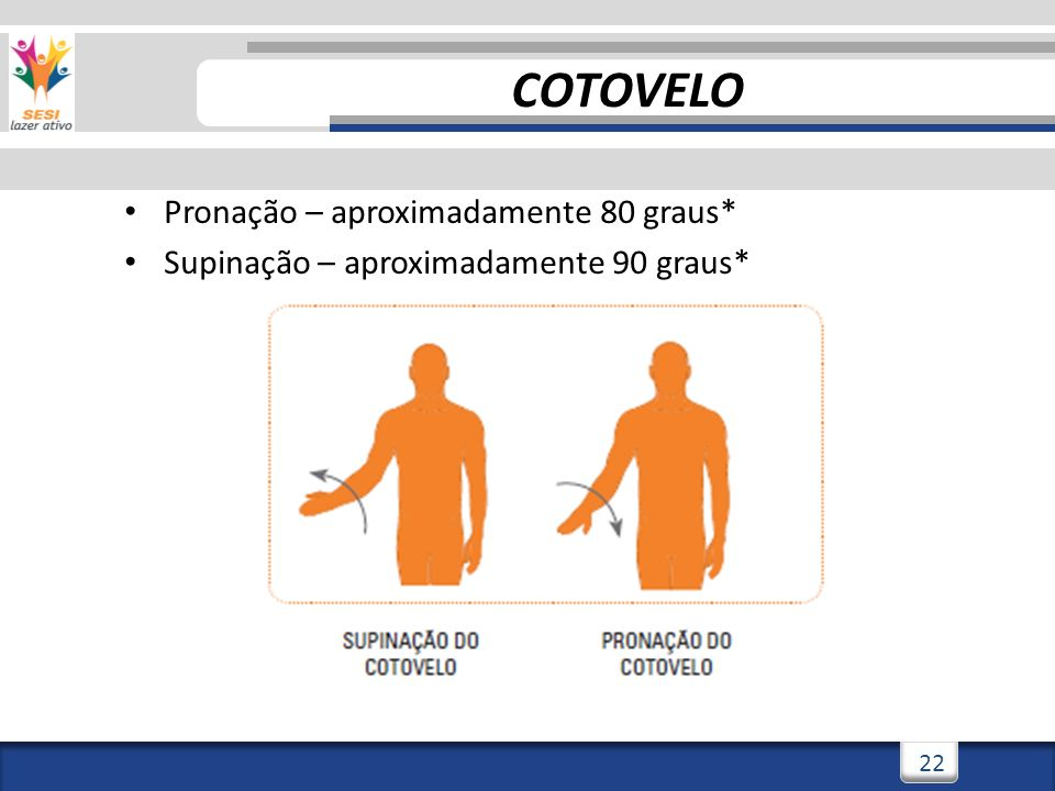 2/3/201422 Pronação – aproximadamente 80 graus* Supinação – aproximadamente 90 graus* COTOVELO