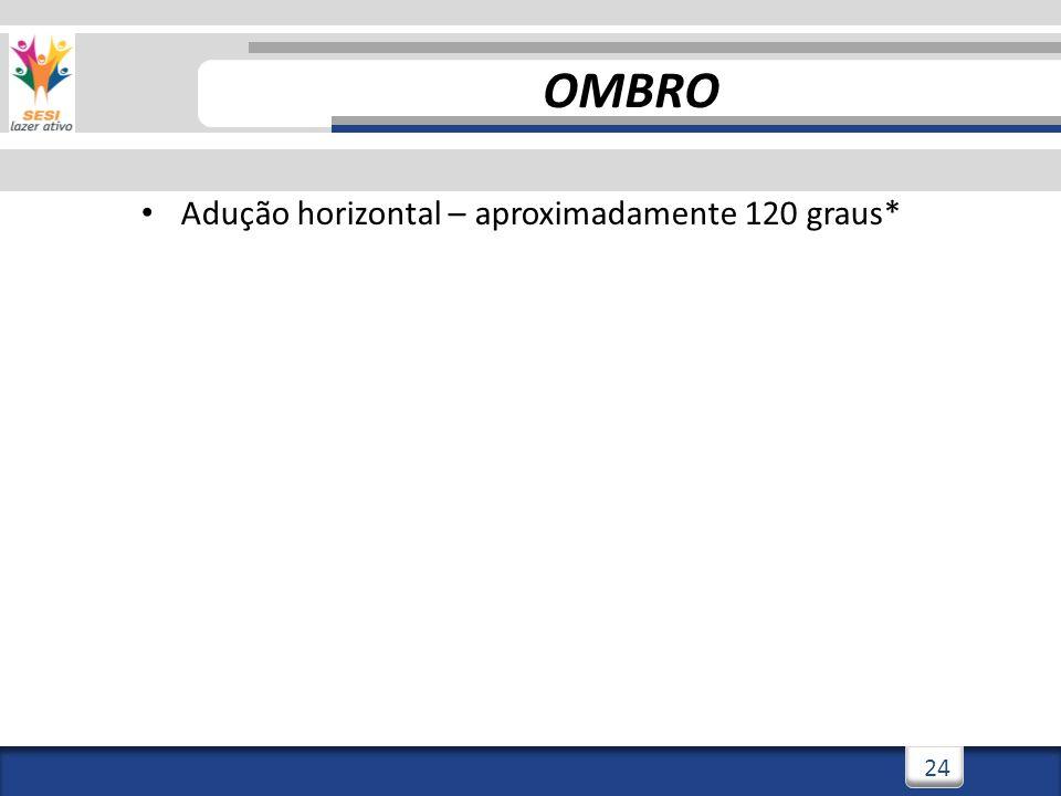 2/3/201424 Adução horizontal – aproximadamente 120 graus* OMBRO